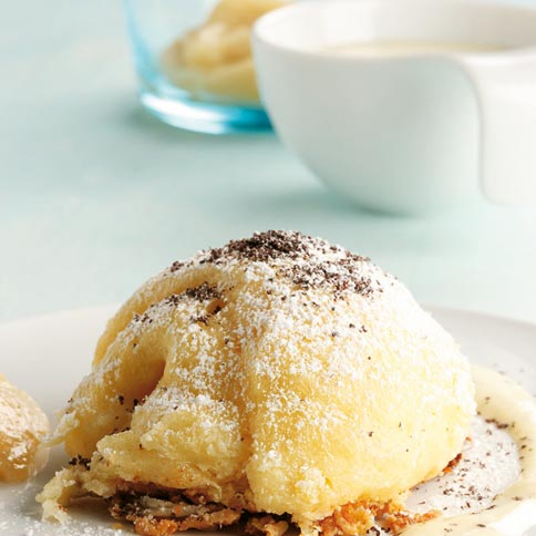 apfelküchle mit sauerrahmeis - bayern & franken: süßes - [essen