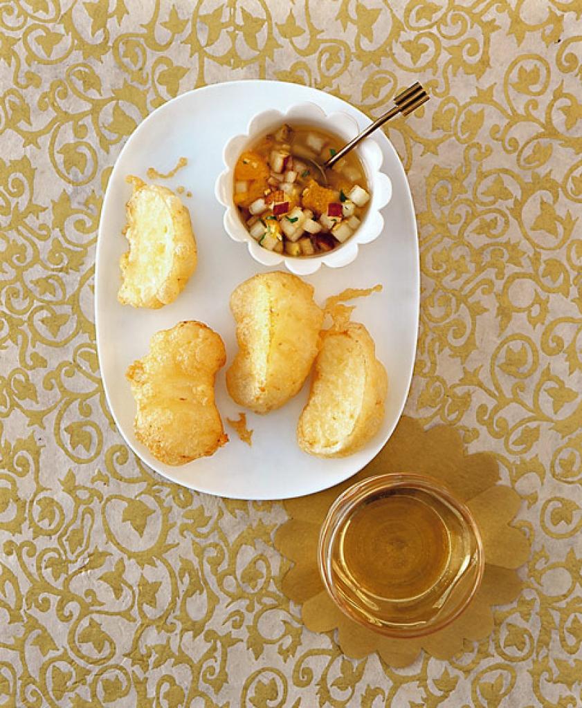 apfel tempura mit birnen salsa rezept essen trinken. Black Bedroom Furniture Sets. Home Design Ideas