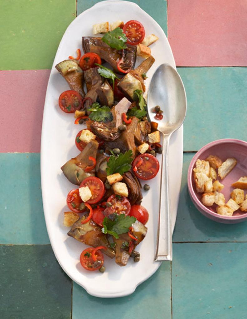 artischocken brot salat mit balsamico rezept essen und trinken. Black Bedroom Furniture Sets. Home Design Ideas