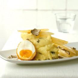 Kartoffel-Trüffel-Püree mit Schwarzwurzeln