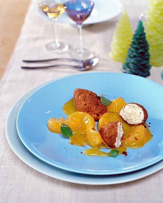 Clementinenkompott mit Quarknocken