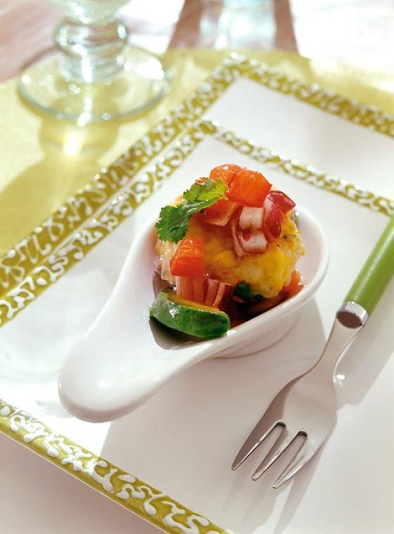 Garnelenfritter mit Guacamolesalat