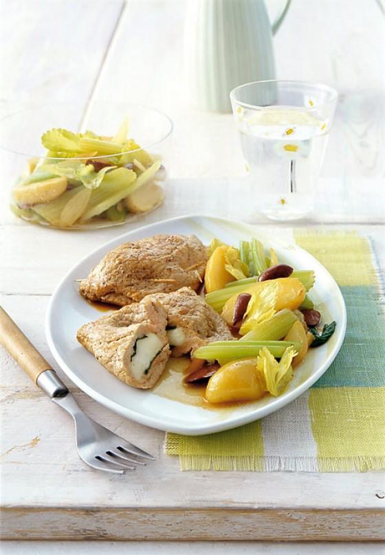 Gefüllte Kalbsschnitzel mit Selleriegemüse