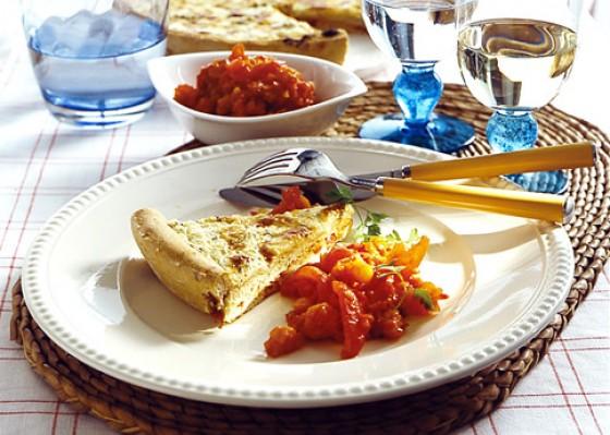 Gorgonzola-Pizza mit Tomatenkompott
