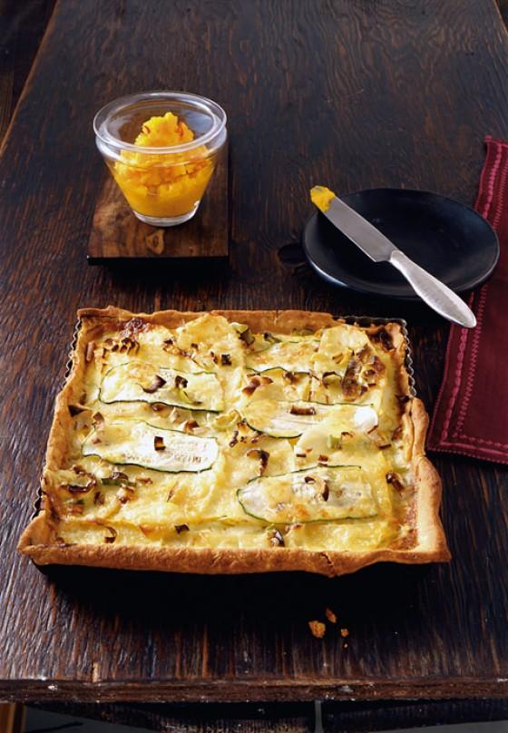 Kartoffeltarte mit Kürbis-Apfel-Püree