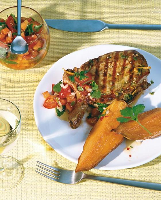 Koteletts mit Kräutern und Bataten