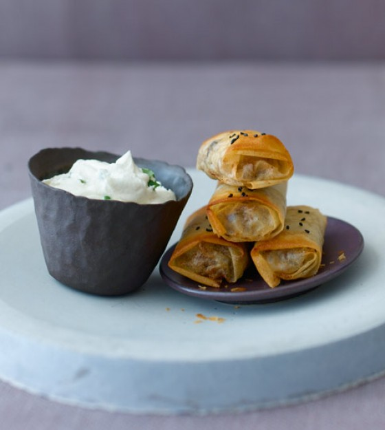 Lamm-Päckchen mit Tahina-Joghurt