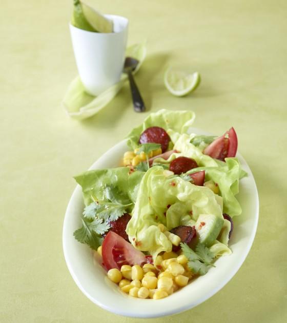Maissalat mit Chorizo