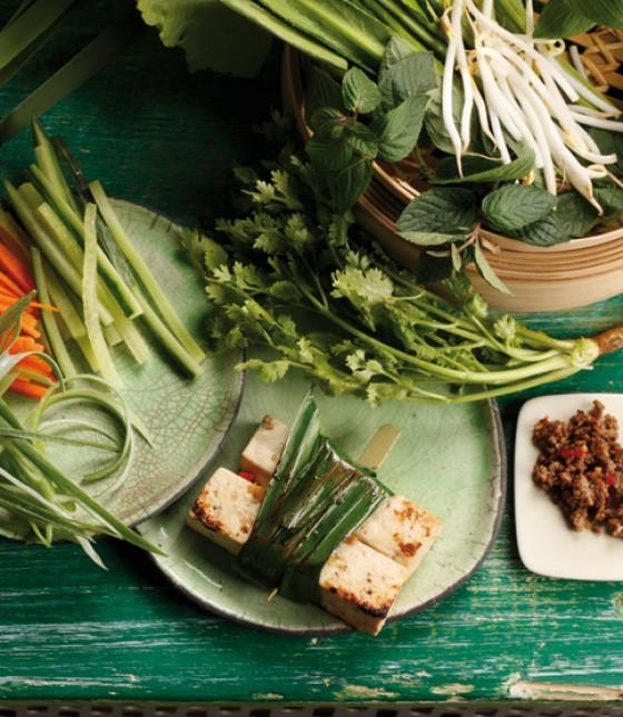 Marinierter Tofu im Pandanblatt