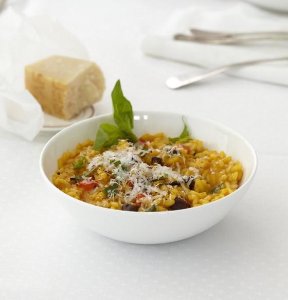Möhren-Paprika-Risotto mit Oliven