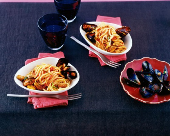 Muschelragout mit Linguini