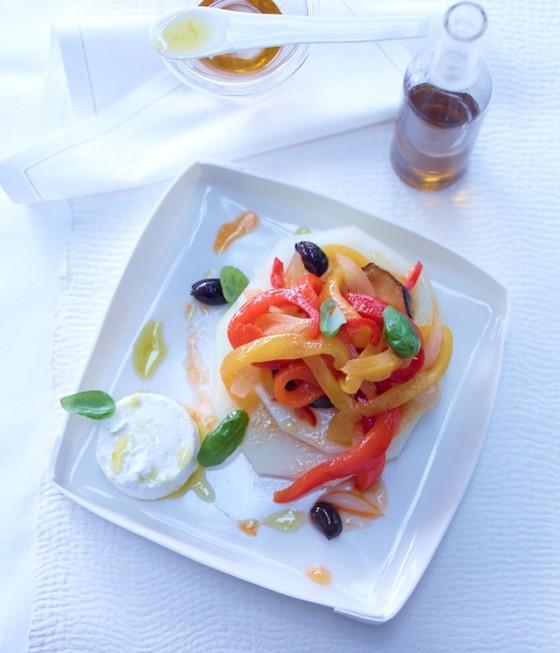 Paprika-Zucchini-Gemüse mit Honigmelone