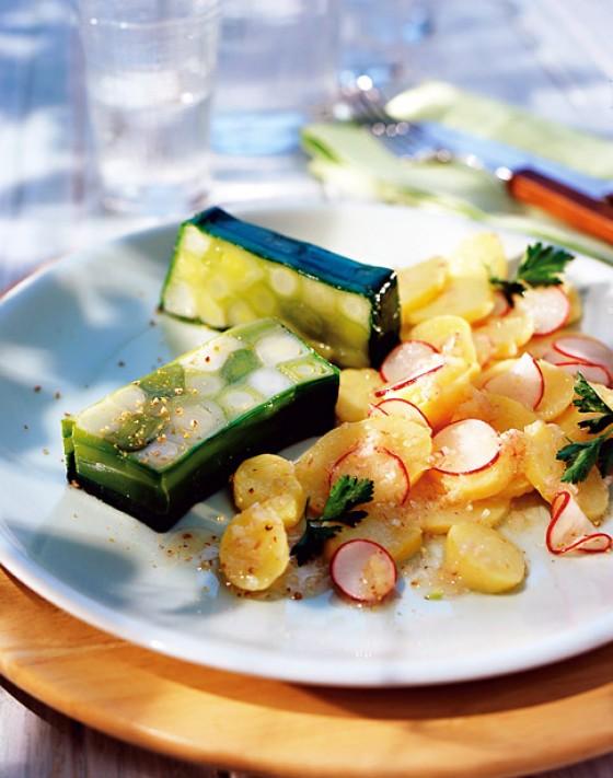 Porreeterrine mit Kartoffelsalat
