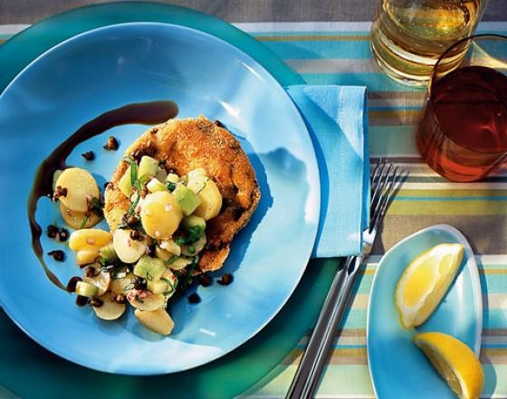 Portobello-Schnitzel mit Kartoffel-Gurken-Salat