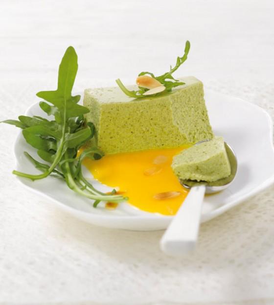 Rauke-Mousse mit Melonensauce