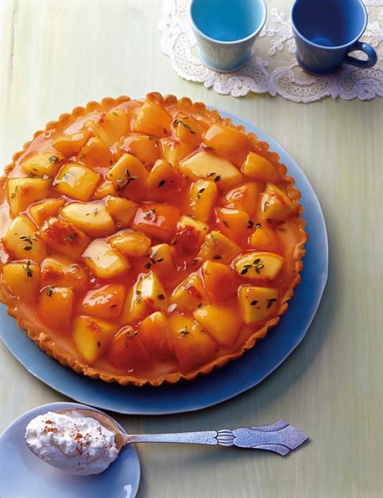 Ricotta-Tarte mit Pfirsichen