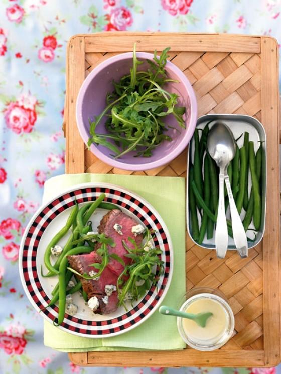 Roastbeef mit Stilton und grünen Bohnen