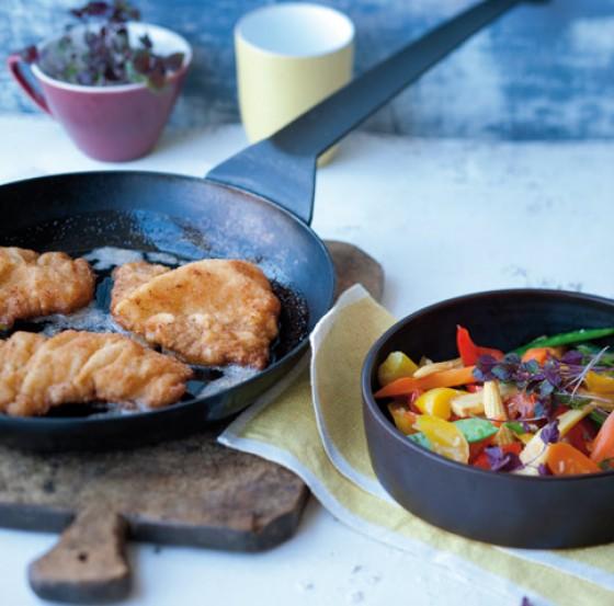 Schnitzel mit Wok-Gemüse