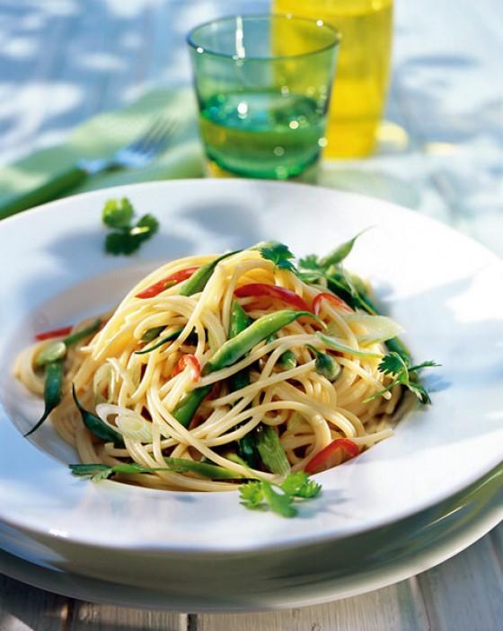 Spaghettini mit grünen Bohnen