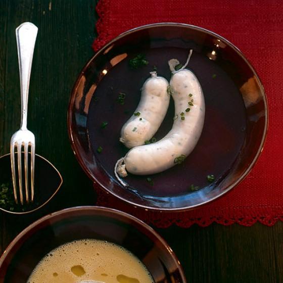 Zander-Weißwürste mit Räucherforelle