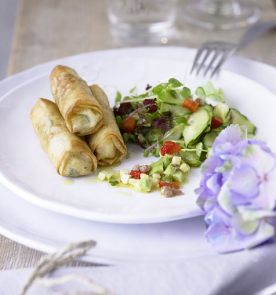 Babymais-Garnelen-Frühlingsrollen mit Kresse-Avocado-Salat