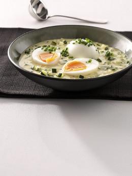 Eier mit Zucchini-Senfsauce