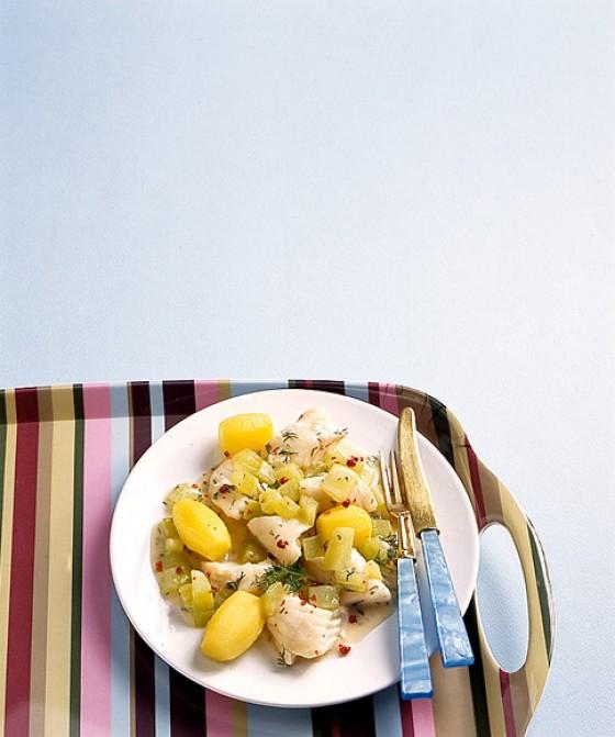 Fischragout mit Joghurtsauce