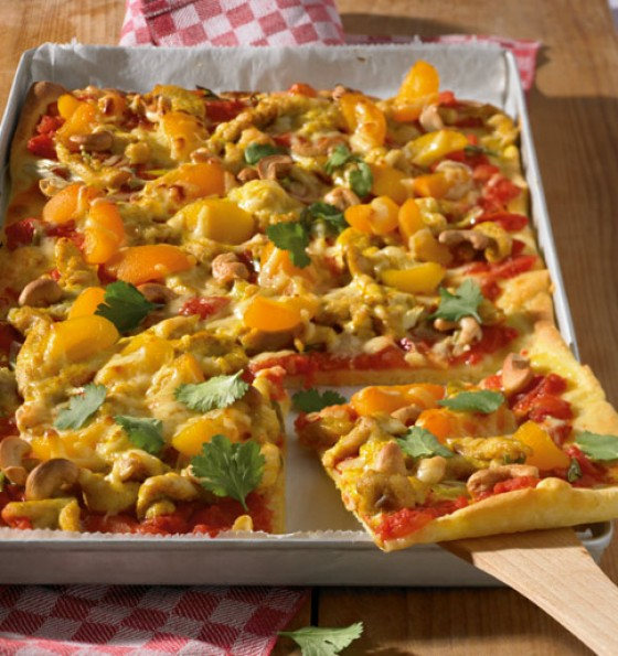 Hähnchen-Curry-Pizza