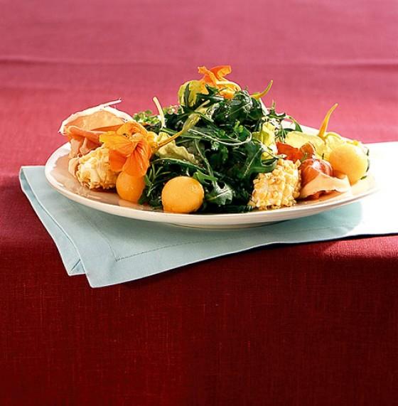 Kräutersalat mit Melone