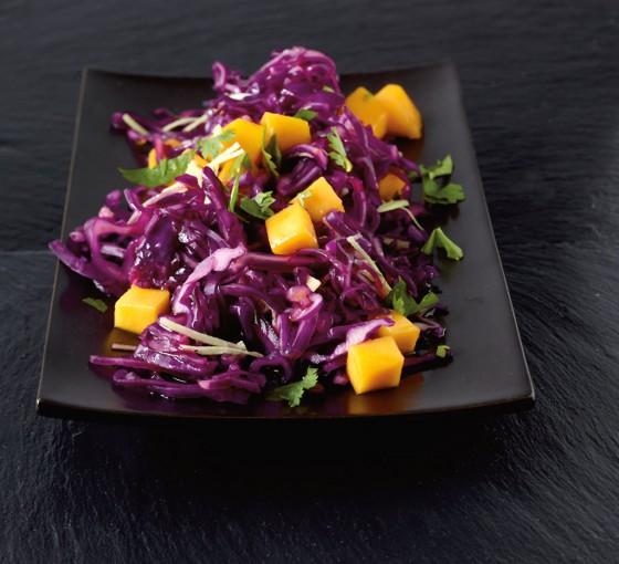 Rotkohlsalat mit Mango
