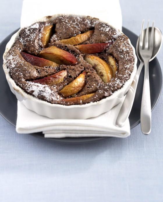 Schokoladen-Pfirsichauflauf