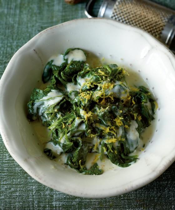 Spinat mit Zitronenrahm