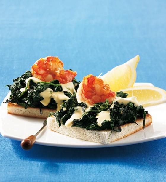 Spinat-Garnelen-Toast