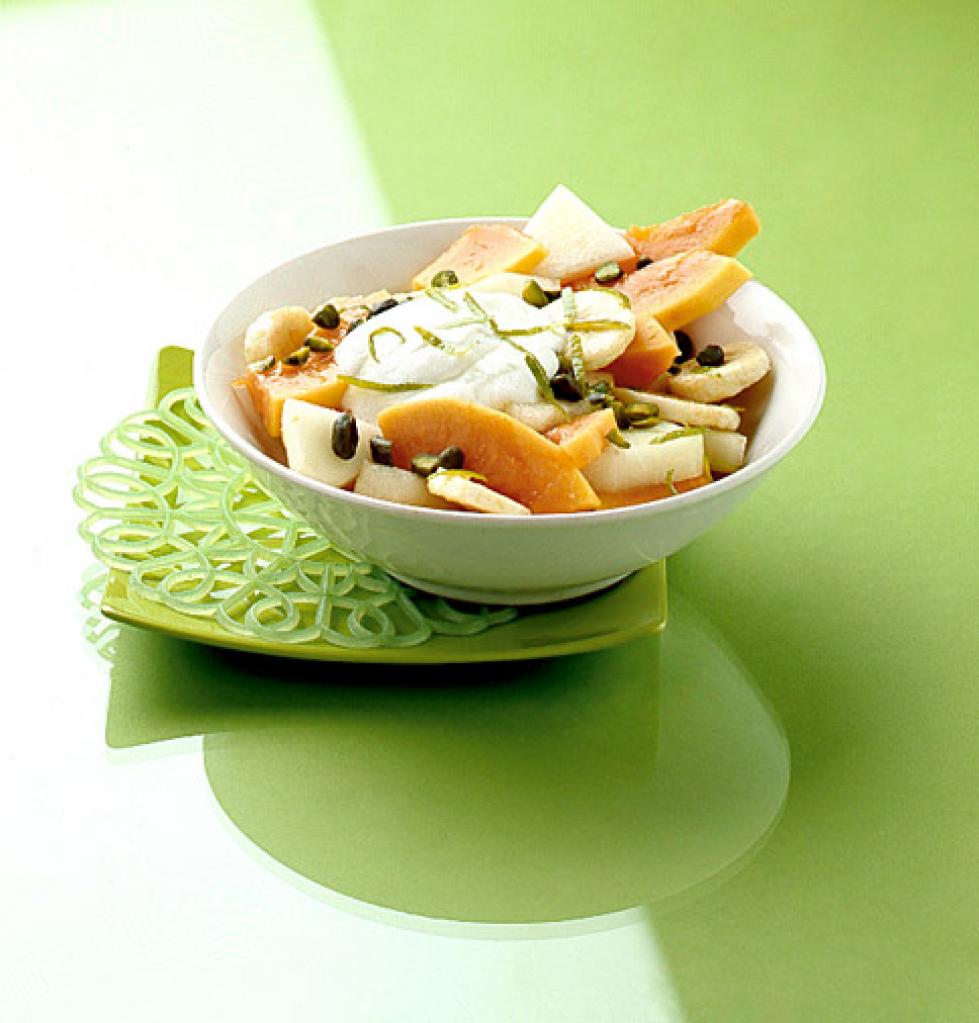 papaya melonen salat rezept essen und trinken. Black Bedroom Furniture Sets. Home Design Ideas