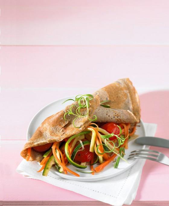Buchweizenpfannkuchen mit Gemüse