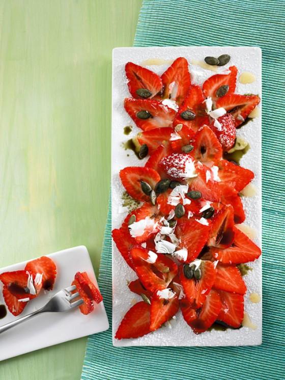 Erdbeersalat mit Kürbiskernöl