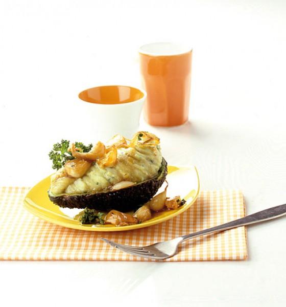 Kartoffel-Avocadopüree mit Knoblauchkaramell