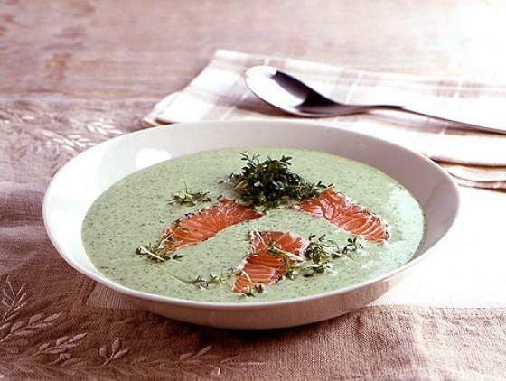 Kressesuppe mit Lachs