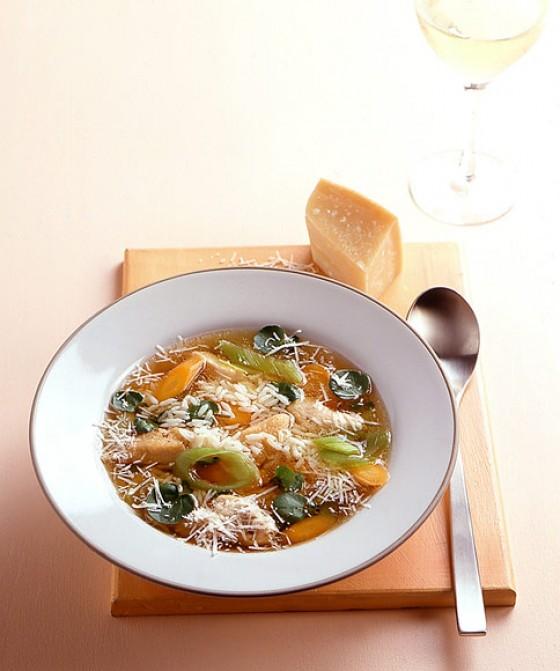 Reissuppe mit Brunnenkresse