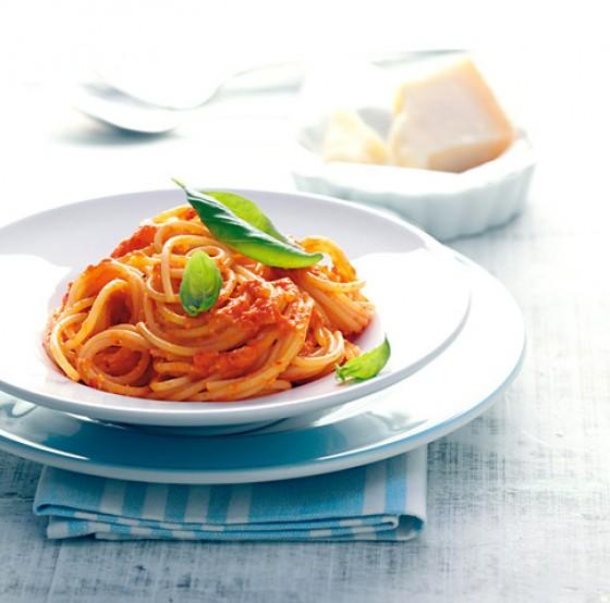 Spaghetti mit Paprikapesto