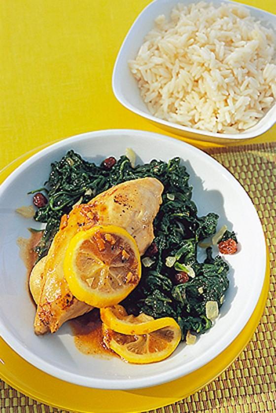 Zitronenhuhn mit Spinat