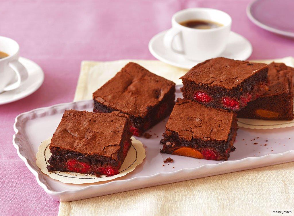 himbeer aprikosen brownies rezept essen und trinken. Black Bedroom Furniture Sets. Home Design Ideas