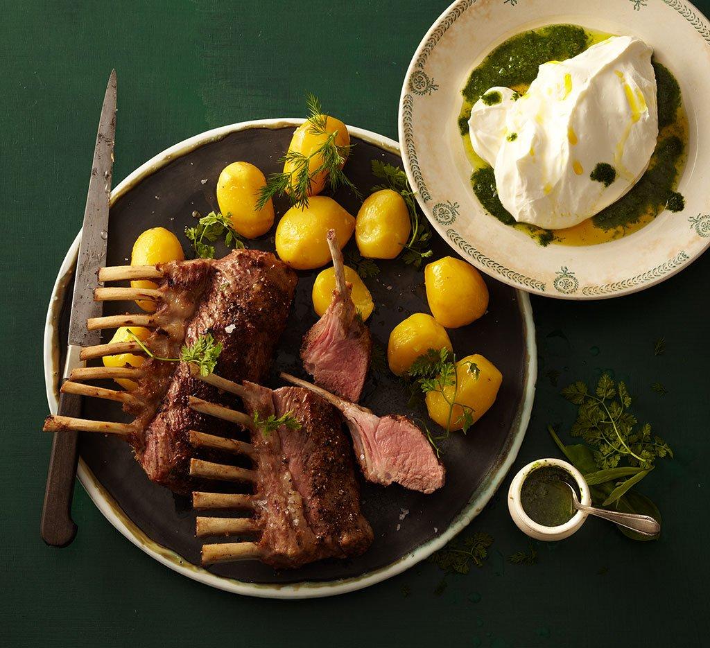 lammkoteletts mit kr uterquark rezept essen und trinken. Black Bedroom Furniture Sets. Home Design Ideas