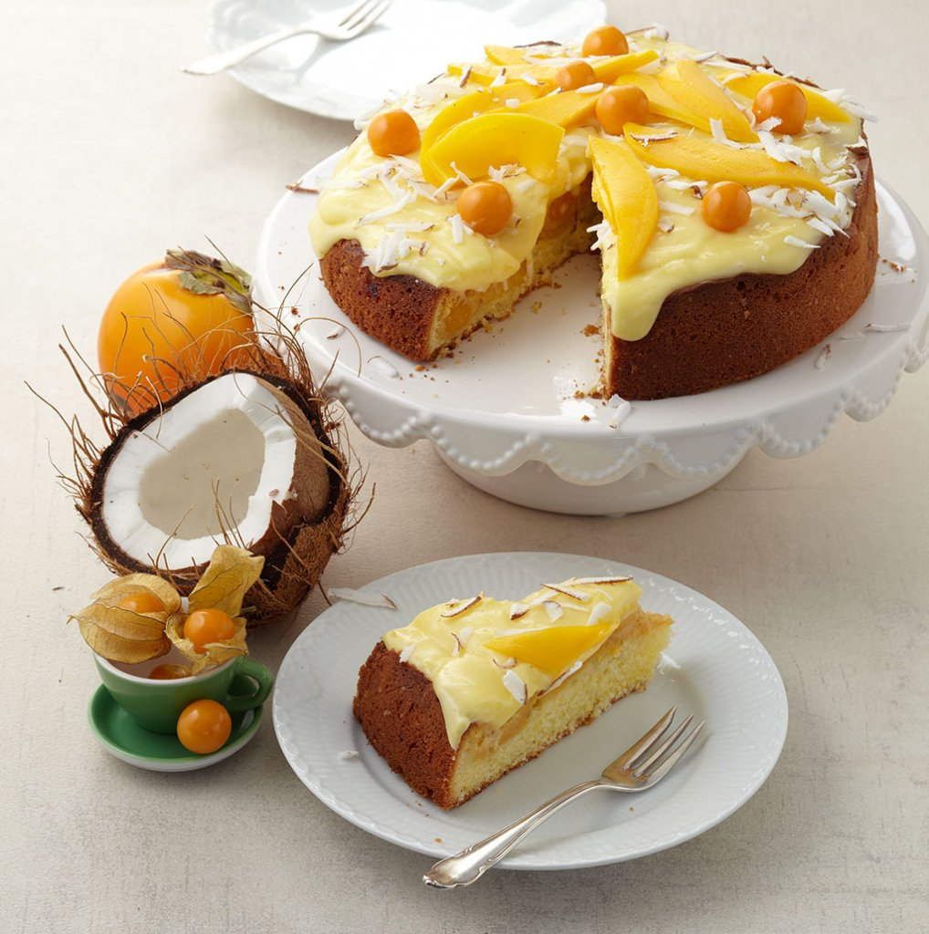 Schnelle Blechkuchen Rezepte Mit Bild: Mango-Physalis-Kuchen Rezept