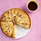 Birnenkuchen mit Schokosauce
