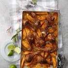 Cajún-Drumsticks mit Süßkartoffeln