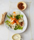 Kohlrabi-Möhren-Salat mit Seidentofu-Dressing