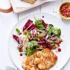 Palbohnenplätzchen mit Trauben-Radicchio-Salat