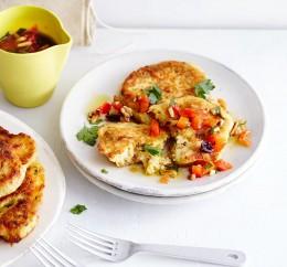 Kartoffelpfannkuchen mit Pinienkern-Vinaigrette