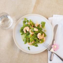 Garnelen-Zuckerschoten-Salat